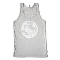 Men's unisex full moon tank top, light silver grey, sleeveless, perfect gift for him or her, space luna lunar design