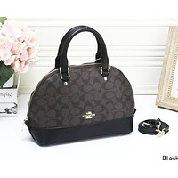 C COACH Hot Sale Women Shopping Leather Handbag Crossbody Satchel Shoulder Bag Black