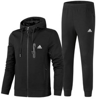 ADIDAS winter thickening sportswear men plus velvet cotton sportswear two-piece black