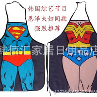 Superman couples apron Personality whimsy novelty, couples party sexy fun gifts party (Size: M) = 1946208708