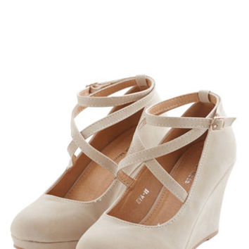 ModCloth Fabled Sable Wedge in Sand
