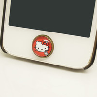 Retro Alloy Epoxy Kitti Cat Transparent Time Gems Cell Phone Home Button Sticker Charm for iPhone 4s,4g,5,5c, Friend Gift