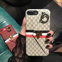 Luxury Famous Letter Design Stand card slot bee case cover For i phone LV6 7 8 X