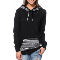 Black Geometric Print Hoodie Sweater With Pocket