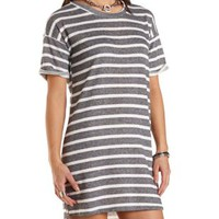 Striped French Terry Shift Dress by Charlotte Russe