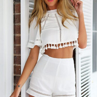 White Two Piece Crop Top Set