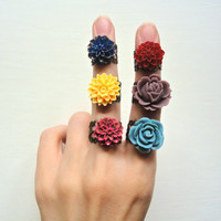 Colorful Flower Rings - Choose Your Favorite Color - Stocking Stuffer