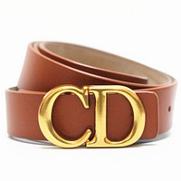 Dior Tide brand women's simple personality letter buckle belt Brown