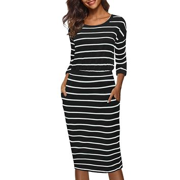 Women's 3/4 Sleeve Round Neck Hips-wrapped Casual Office Pencil Dress