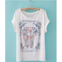 Zeagoo Womens Summer Elephant Print Round Collar Short Sleeve T-Shirt
