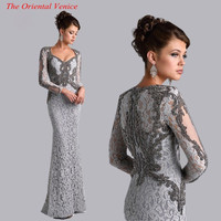 Silver Grey Lace Long Sleeves Mermaid Mother of the Bride Dresses Beaded Long Evening Party Gowns Plus Size Mother Formal Dress