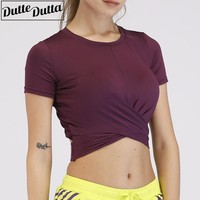 Women Sport T-shirt Backless Yoga Top Breathable Short Sleeve Sport Crop Top Gym Fitness Sports Tops Gym Women Workout Tops