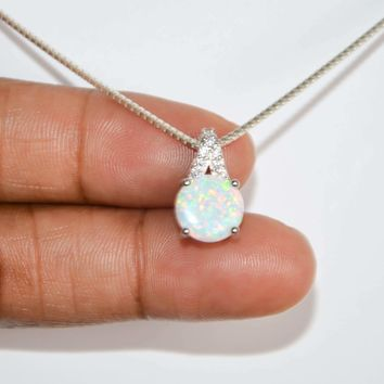 Fire Opal Necklace, Cz Bridal Jewelry, Sterling Silver White Opal Pendant, October Birthstone Jewelry, Dainty Wedding Necklace, Gift For Her