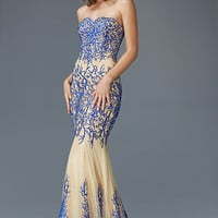 G2055 Nude Jeweled Metallic Embroidered Prom Dress Pageant Evening Gown
