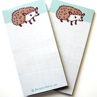 Blue Hedgehog Notepad - kawaii hedgehog stationery