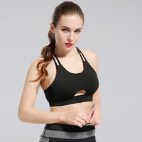 Fashion Casual Solid Color Hollow T Bandage Halter Tight Sports Small Vest Underwear Lingerie Bra