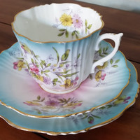 Antique English tea trio, floral teacup, saucer and dessert plate, pink and blue tea cup
