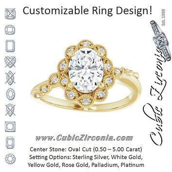 Cubic Zirconia Engagement Ring- The Makayla Belle (Customizable 3-stone Design with Oval Cut Center and Halo Enhancement)