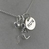 Sterling Silver GIRLS LOVE TO RUN - Choose your race distance - Either RUN, 5K, 10K, 13.1 or 26.2 - Sterling silver pendants with 16 inch sterling silver ball chain