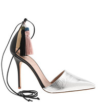 ROXIE CRACKLE LEATHER ANKLE-TIE PUMPS