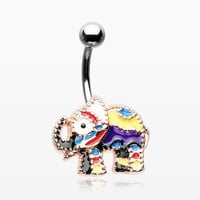 Jaipur Decorative Elephant Parade Belly Button Ring