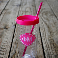 Phi Mu Clear Tumbler with Lid and Straw