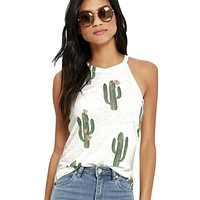 New Summer Cactus Printed Tank Tops Womens Sleeveless Fashion