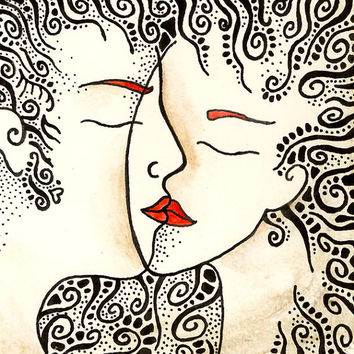 Romantic gift idea - art print of kissing couple. Mixed media ink drawing print. Unique home decor. Love illustration. Gifts for weddings.
