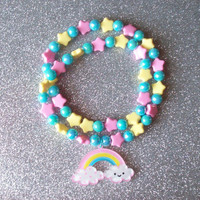 Sweet Skies - Pastel Happy Rainbow and Stars Stretch Necklace