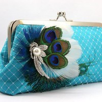 ANGEE W. Peacock Passion - Turquoise Clutch with Peacock Feather Rhin | ANGEEW - Wedding on ArtFire