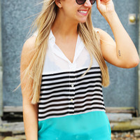 Color Block Stripes Tank {Aqua}