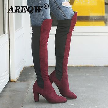 Women's Boots Over The Knee Long Tube Suede Thick with High Heel Warm Winter Women Boots Fashion Casual Women Shoes
