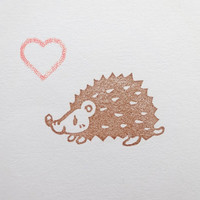 Hedgehog stamp, Baby shower stamp, Cute animal gift, Kids' toy, Handmade with love, Forest animal, Cute animal, Pet gift idea