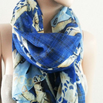 Navy Blue Long Print Scarf | LaLaMooD
