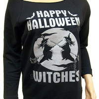 Happy Halloween Witches, womens shirt, off shoulder pullover sweater, Slouchy Sweatshirt, Halloween party, black t shirt, Halloween costume