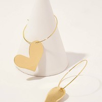 Dangling Heart Hoop Earrings 1pair