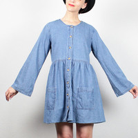 Vintage Denim Dress 1990s Dress Blue Jean Jumper Babydoll Dress 90s Dress Boho Bell Sleeve Soft Grunge Dress Hipster Lolita Dress M Medium L