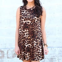 Mock Neck Leopard Shift Dress