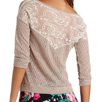 MARLED SLUB KNIT LACE-BACK TOP