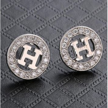 Hermes Stylish Women Chic H Letter Circular Diamond Earrings Accessories Jewelry