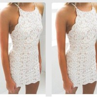 White Lace Strap Bodycon Short Homecoming Dresses with Applique