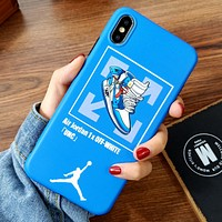 Jordan & Off White Fashion New Shoes Cross Arrow Print Women Men Protective Cover Phone Case Blue