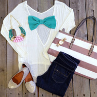 Riviera Shore Ivory Green Bow Back Top