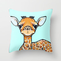 Baby Giraffe Throw Pillow by Cartoon Your Memories