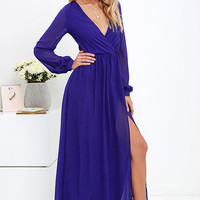 Wondrous Water Lilies Royal Blue Maxi Dress