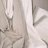 Linen bedding set with lace | Stonewashed heavy linen duvet cover and 2 pillowcases | Soft linen bedding white / natural grey | Queen, King