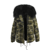 Camouflage Fur Hooded Parka