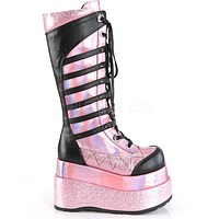 Demonia Pink Hologram Patent Vegan Leather Knee High Platform Boots