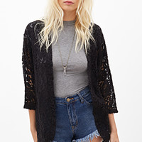 FOREVER 21 Open-Front Lace Cardigan Black