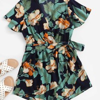 Palm Leaf Print Surplice Romper